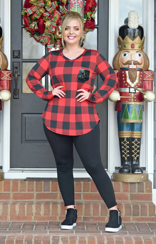 Look Don't Touch Buffalo Plaid Top - Red/Black