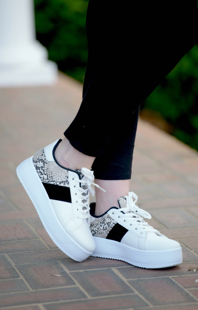 In High Demand Print Sneakers - Black/White