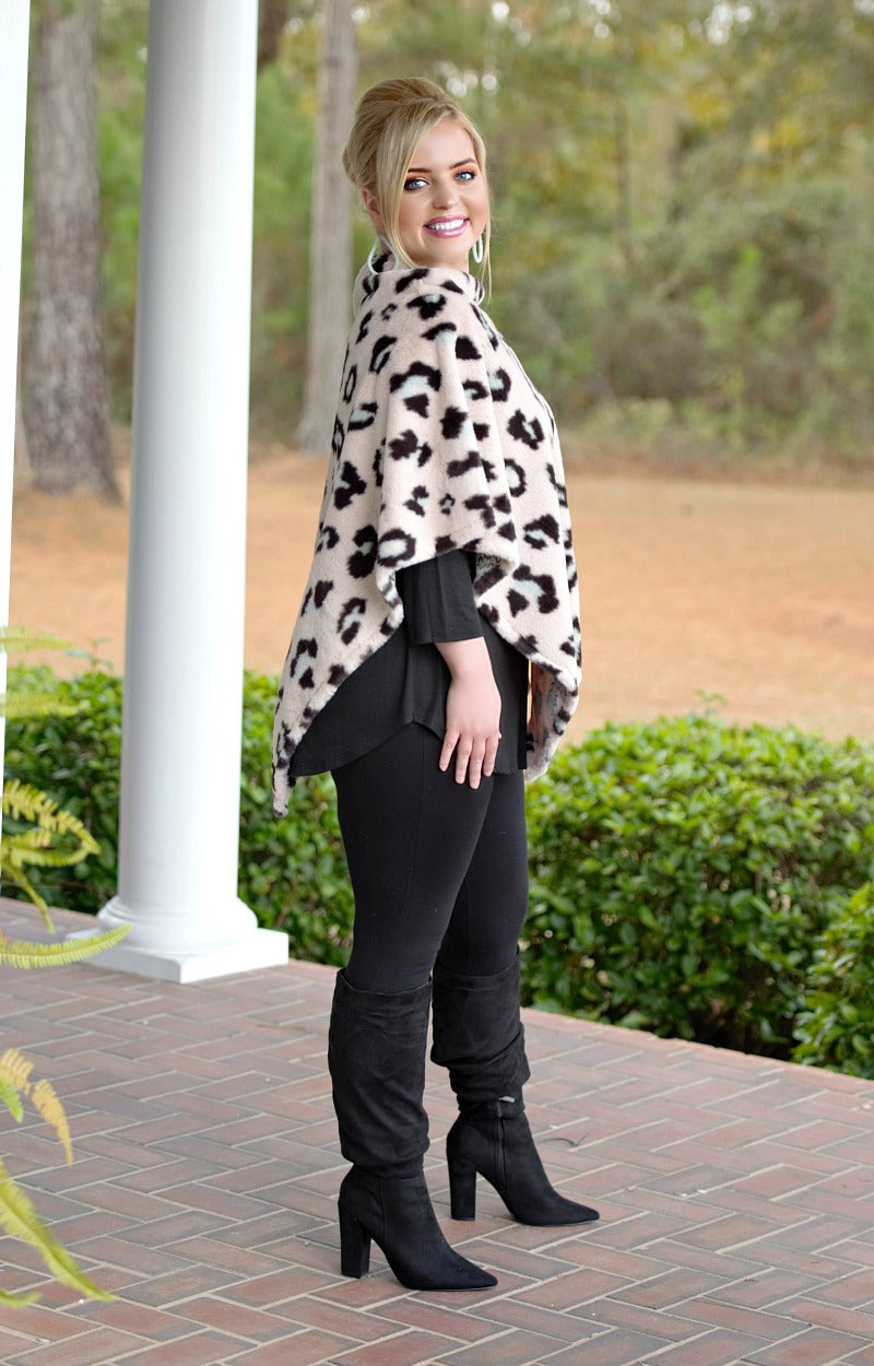 Load image into Gallery viewer, Kind Of Wild Faux Fur Leopard Print Poncho