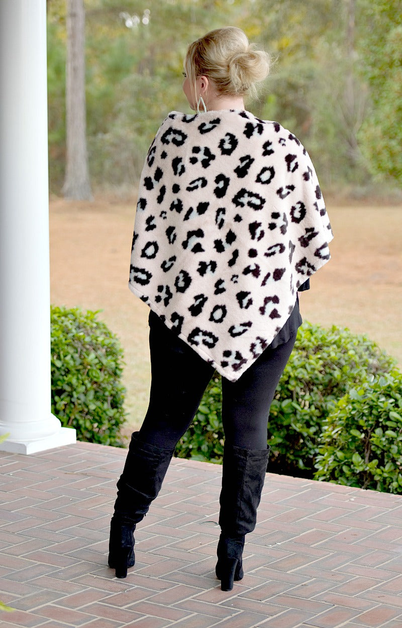 Kind Of Wild Faux Fur Leopard Print Poncho