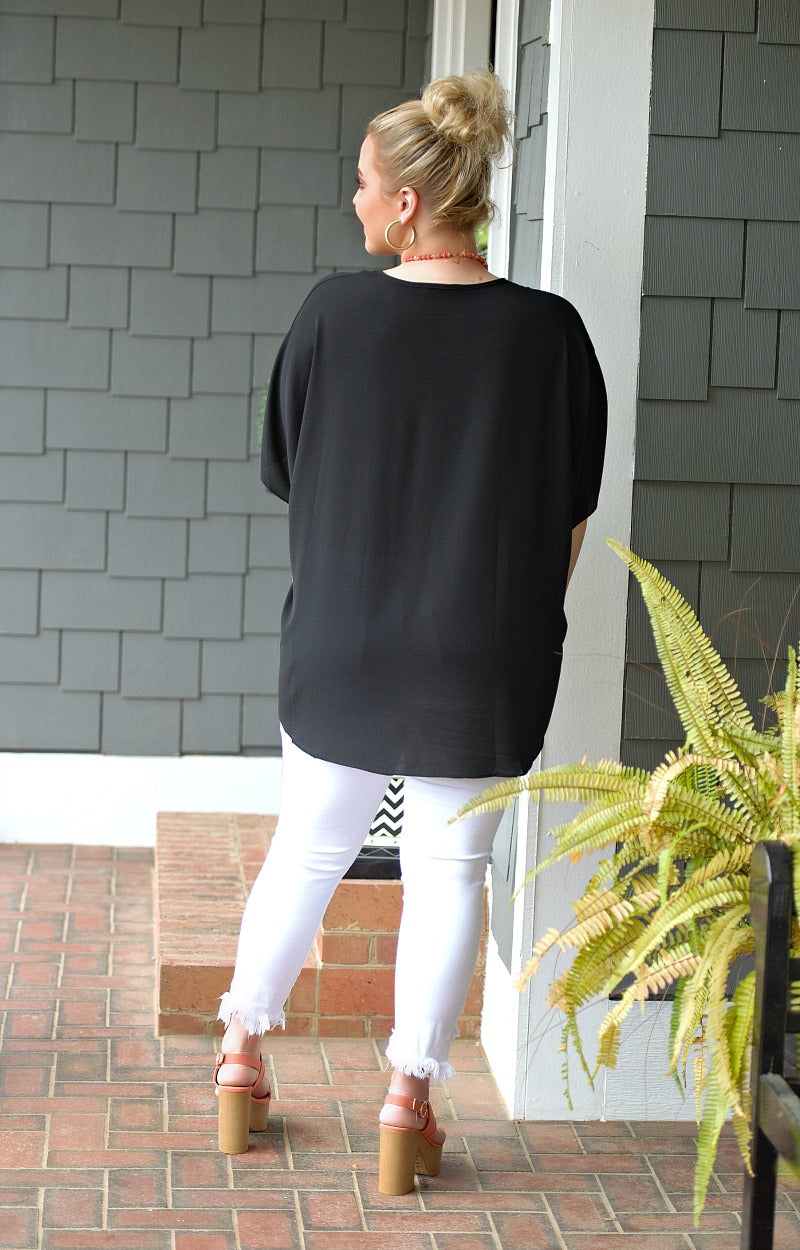 I'm Impressed Oversized Top - Black