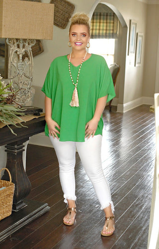 I'm Impressed Oversized Top - Kelly Green