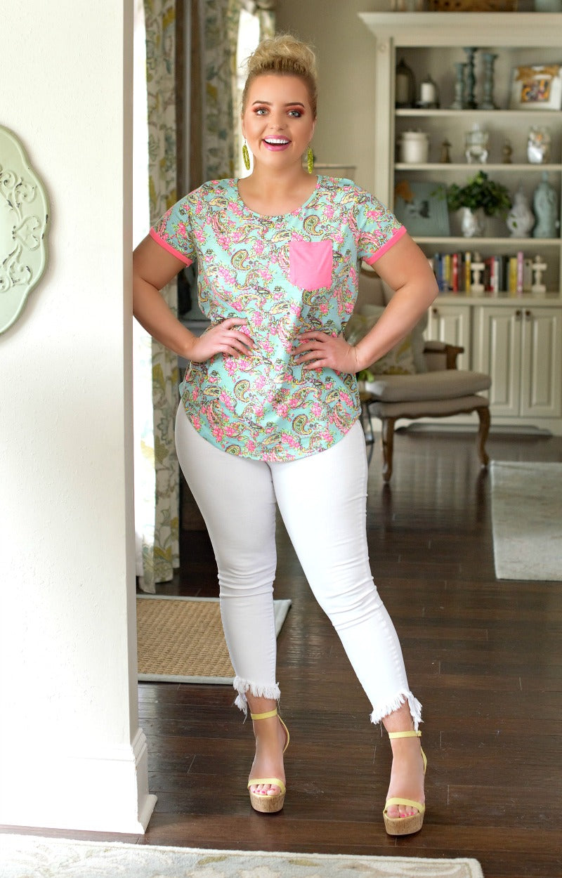 Load image into Gallery viewer, Short And Sweet Print Top - Mint/Hot Pink