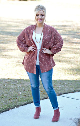 Any Suggestions Dot Cardigan - Burgundy