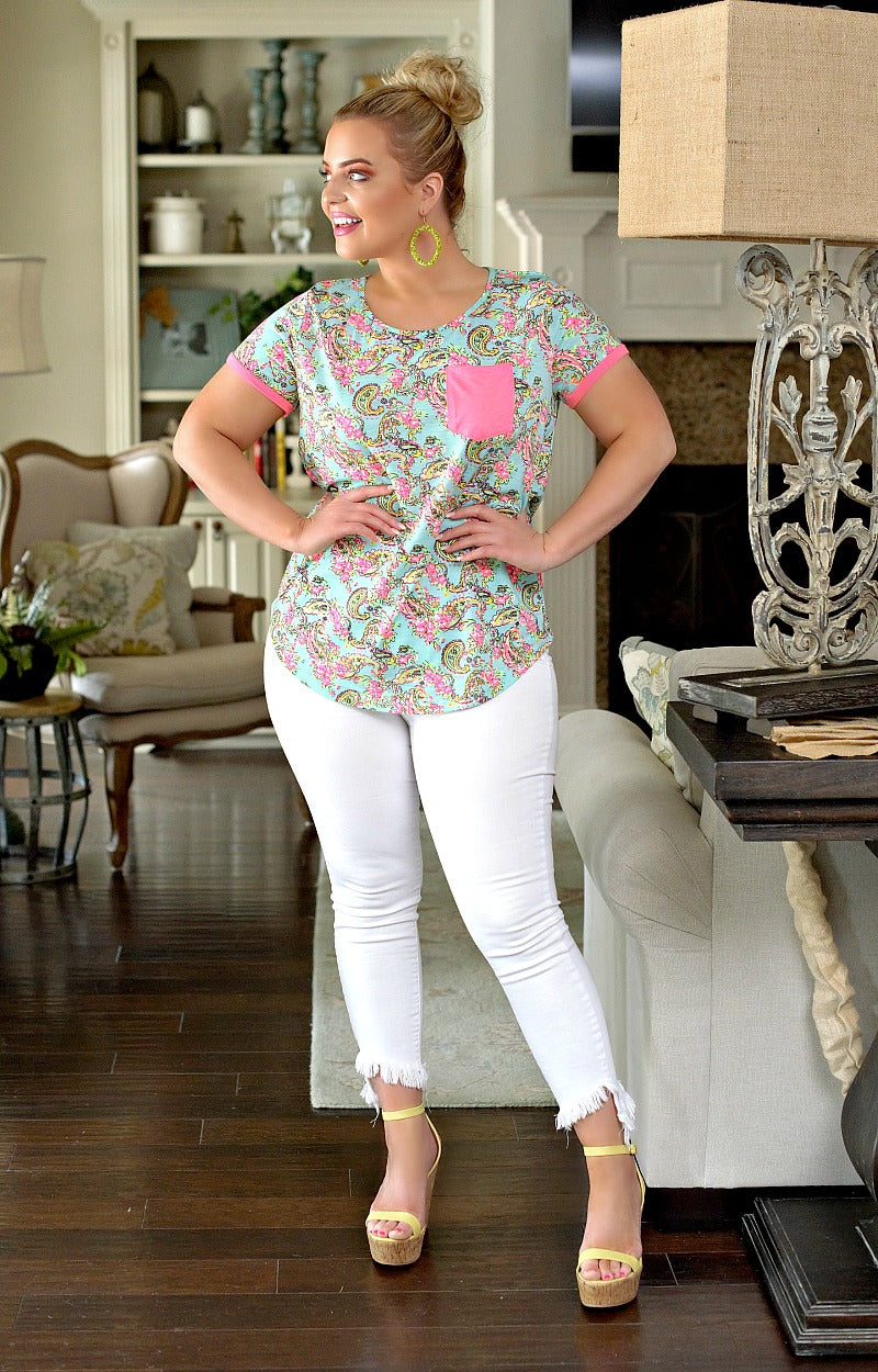Short And Sweet Print Top - Mint/Hot Pink