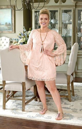 Must Be True Lace Dress - Peach