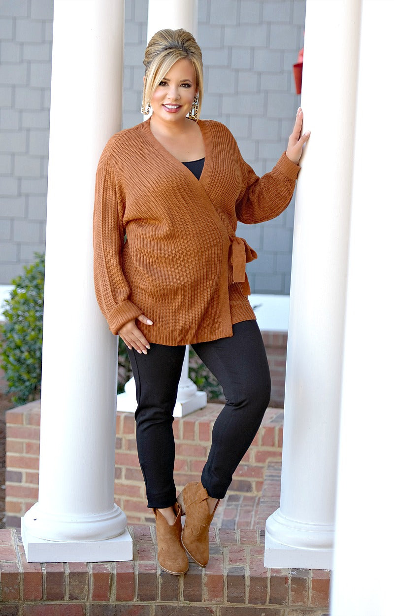 No Turning Back Cardigan - Caramel Brown