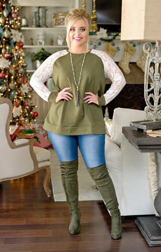 In Your Arms Lace Top - Olive