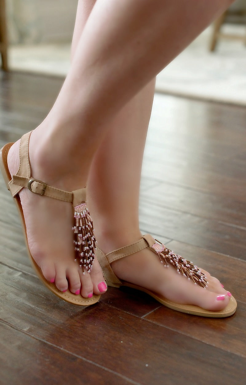 Load image into Gallery viewer, Letting Things Slide Sandals - Peach/Brown