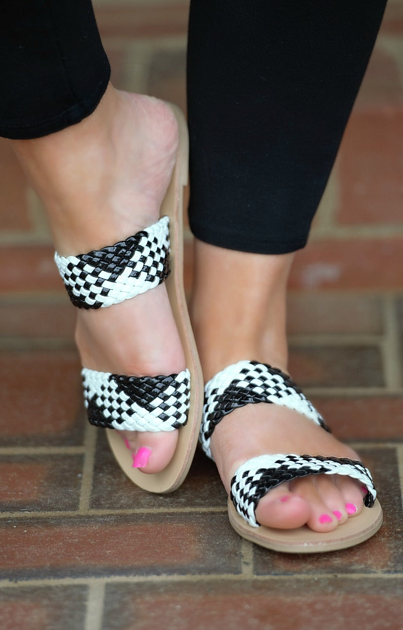 Load image into Gallery viewer, Too Cute To Care Sandals - Black/White