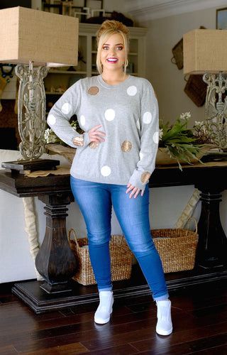 Never Too Much Polka Dot Sweater - Heather Gray