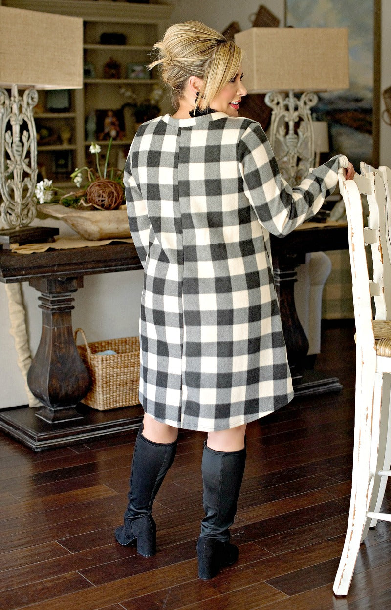 Glad I Met You Plaid Dress - Ivory/Black
