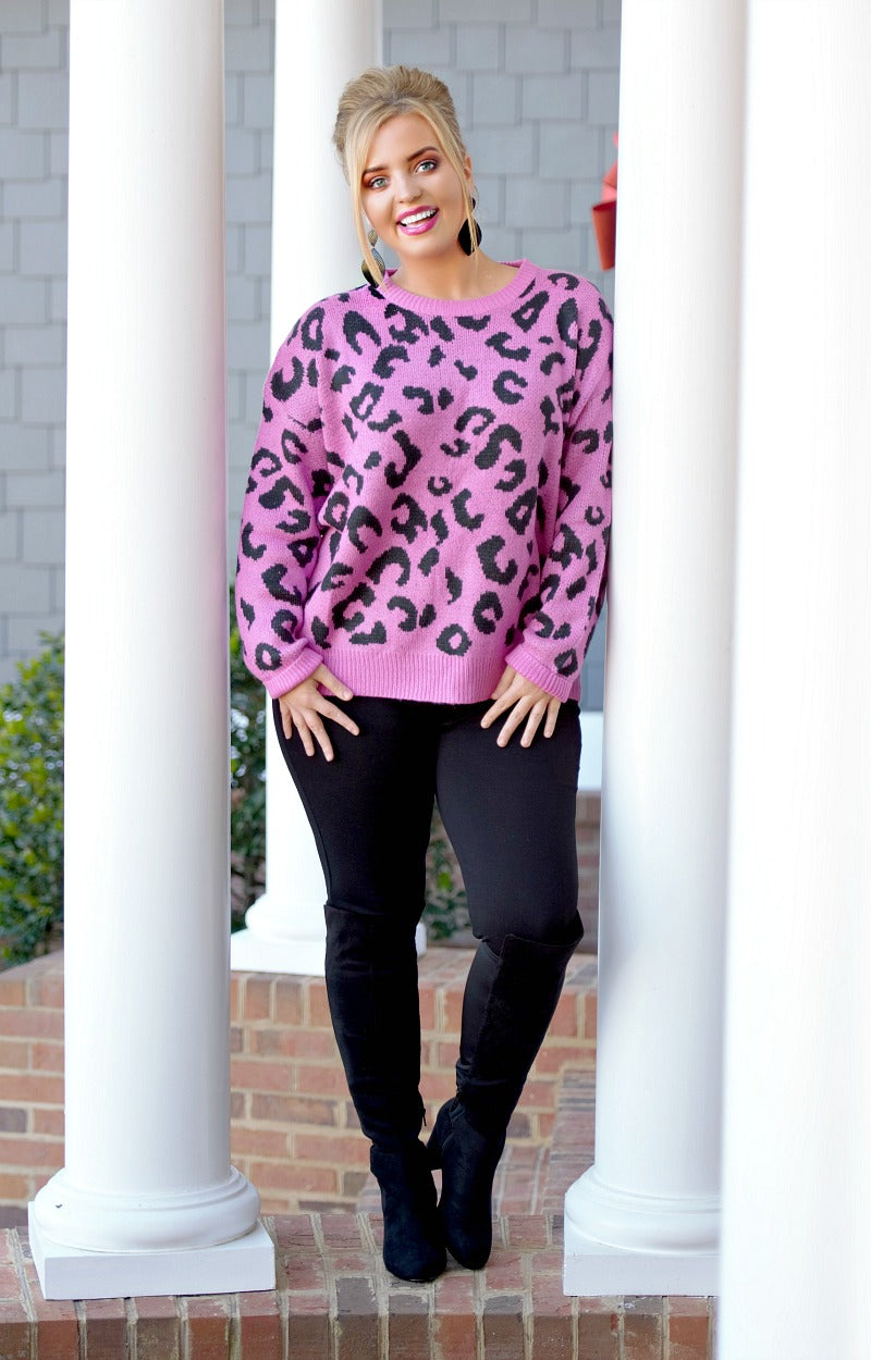 She's Bad Leopard Print Sweater - Fuchsia