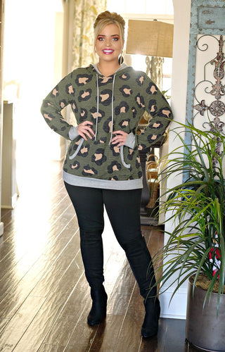 Dangerous Mistake Leopard Print Hooded Pullover