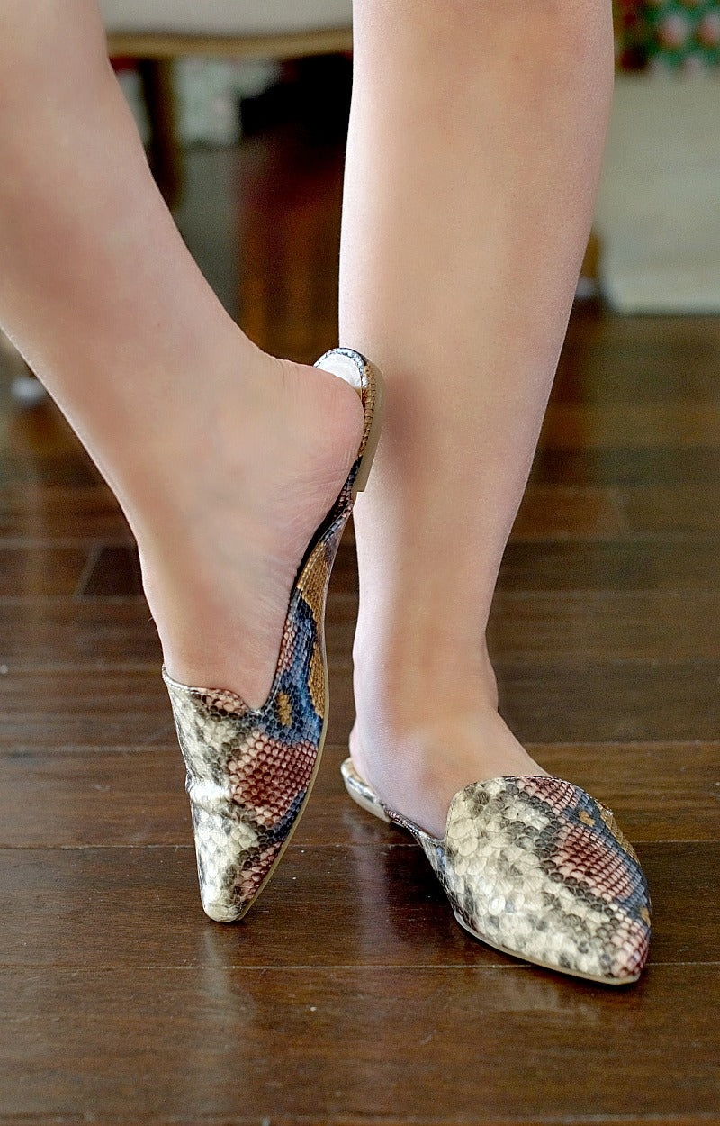 Load image into Gallery viewer, Jump Into Things Snake Print Mules