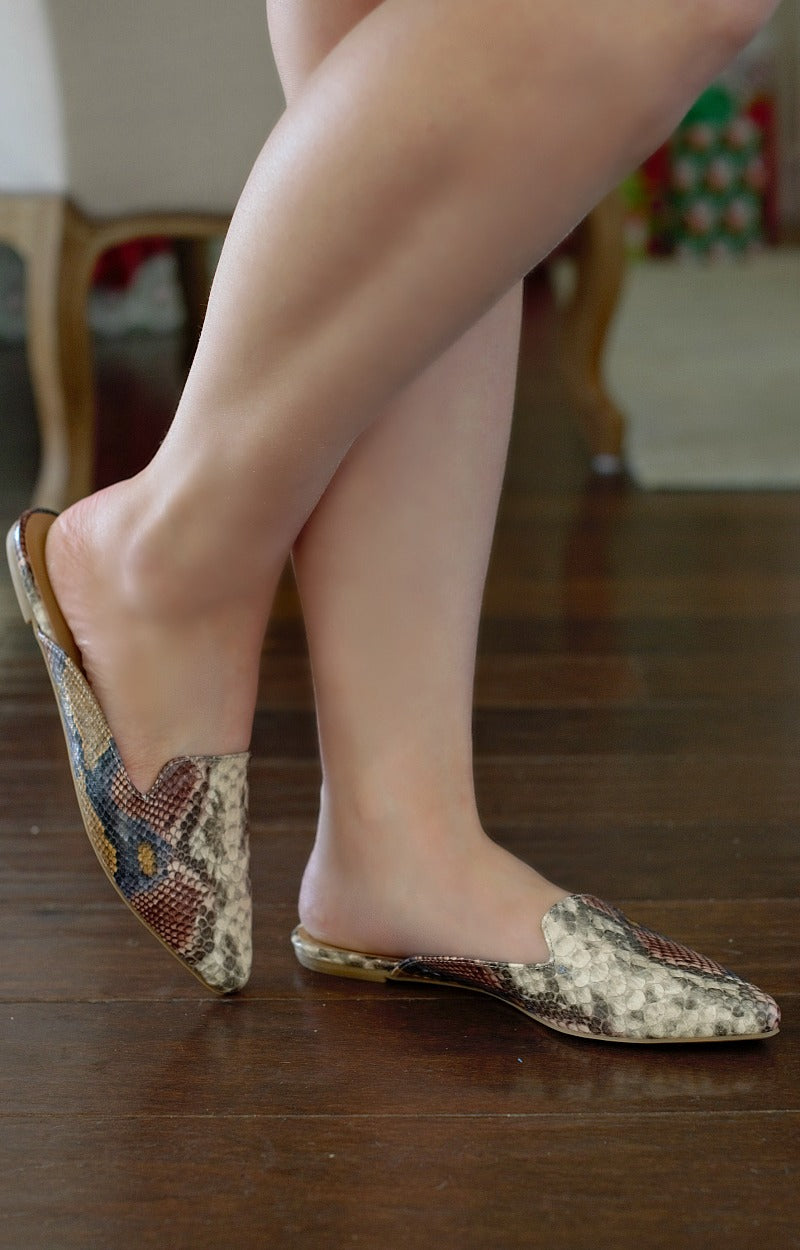Jump Into Things Snake Print Mules