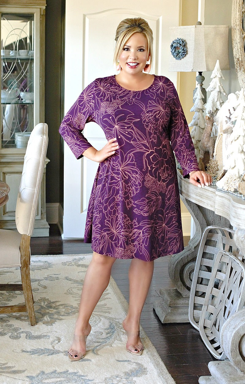Take A Break Print Dress - Purple