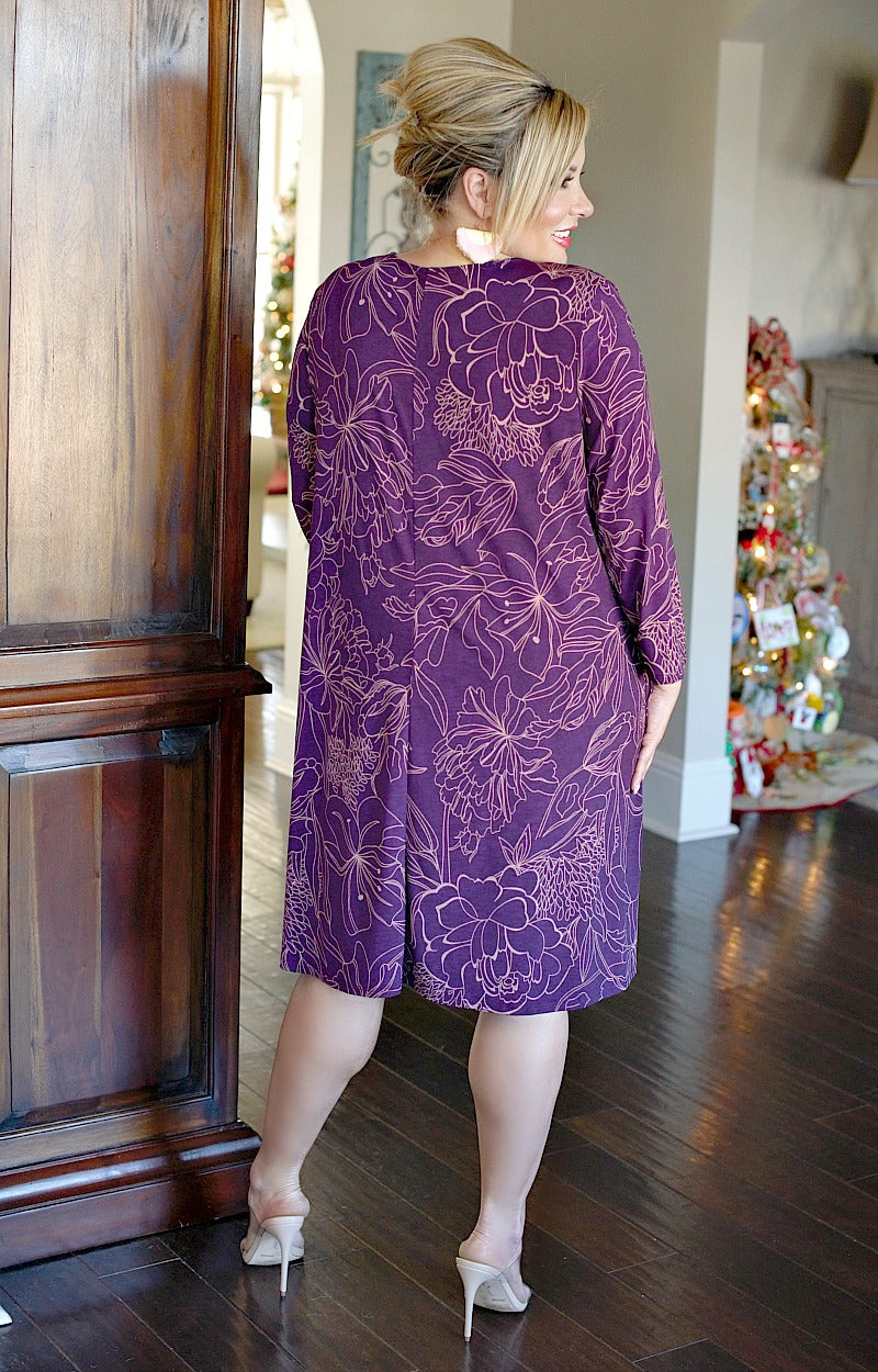 Load image into Gallery viewer, Take A Break Print Dress - Purple