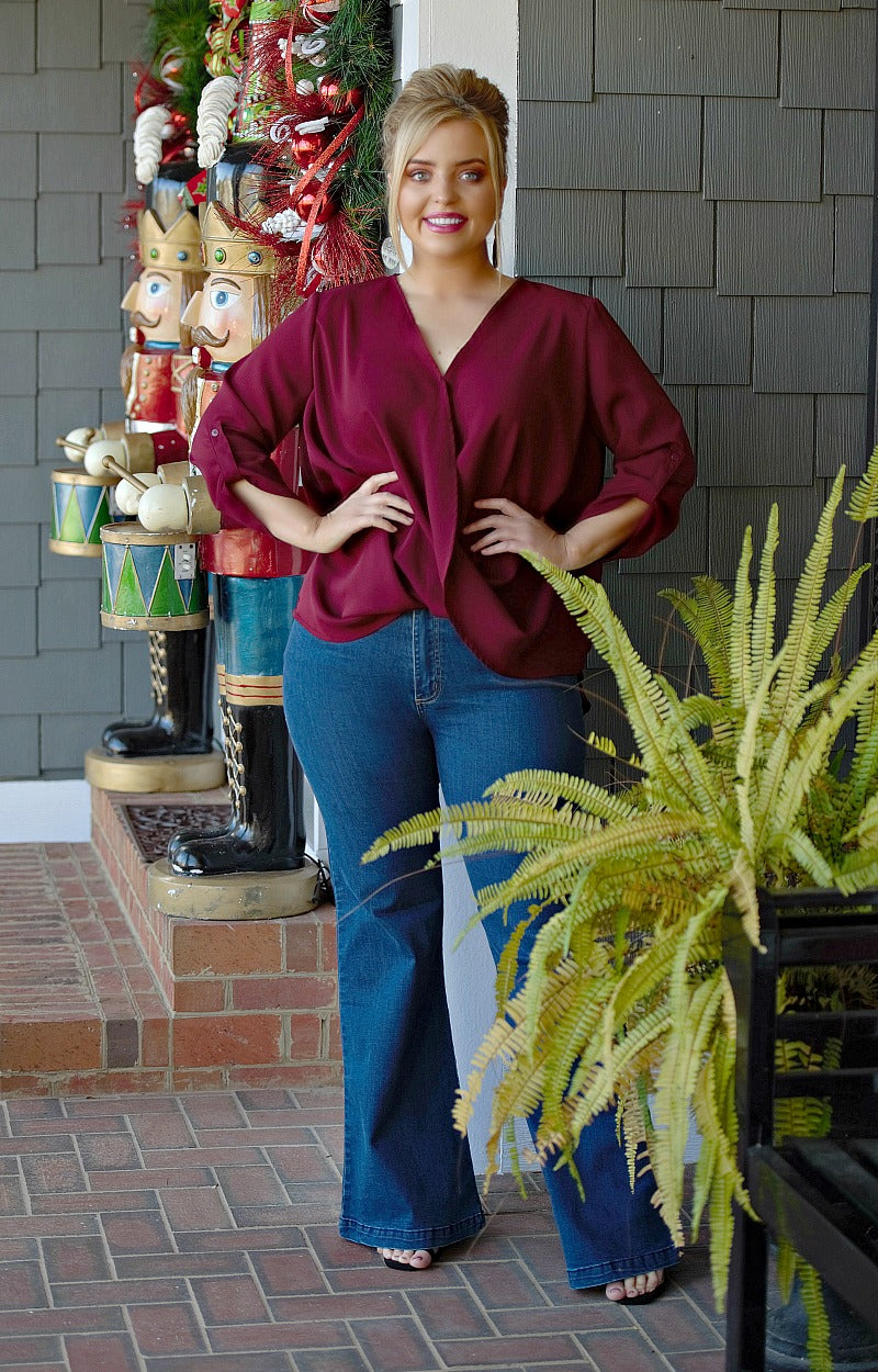 Load image into Gallery viewer, Class Act Wrap Top - Burgundy