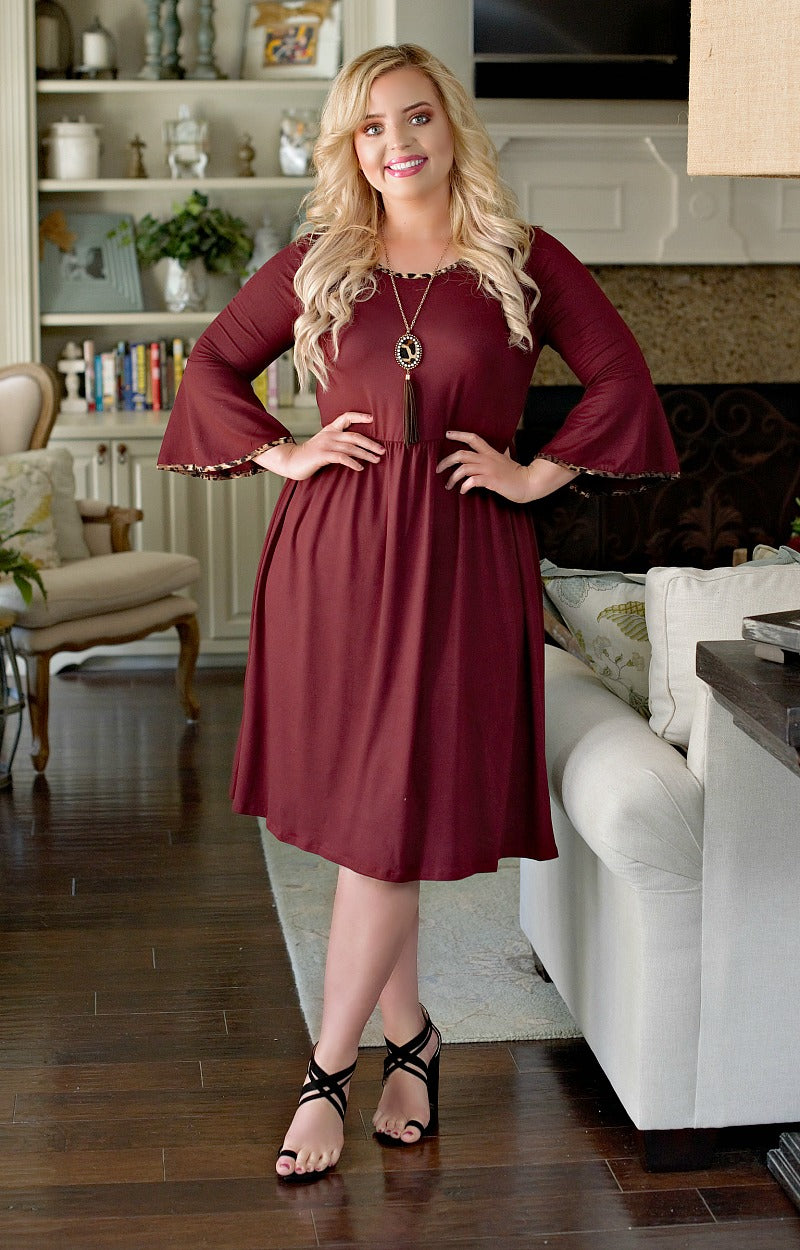 Believed In You Dress - Burgundy