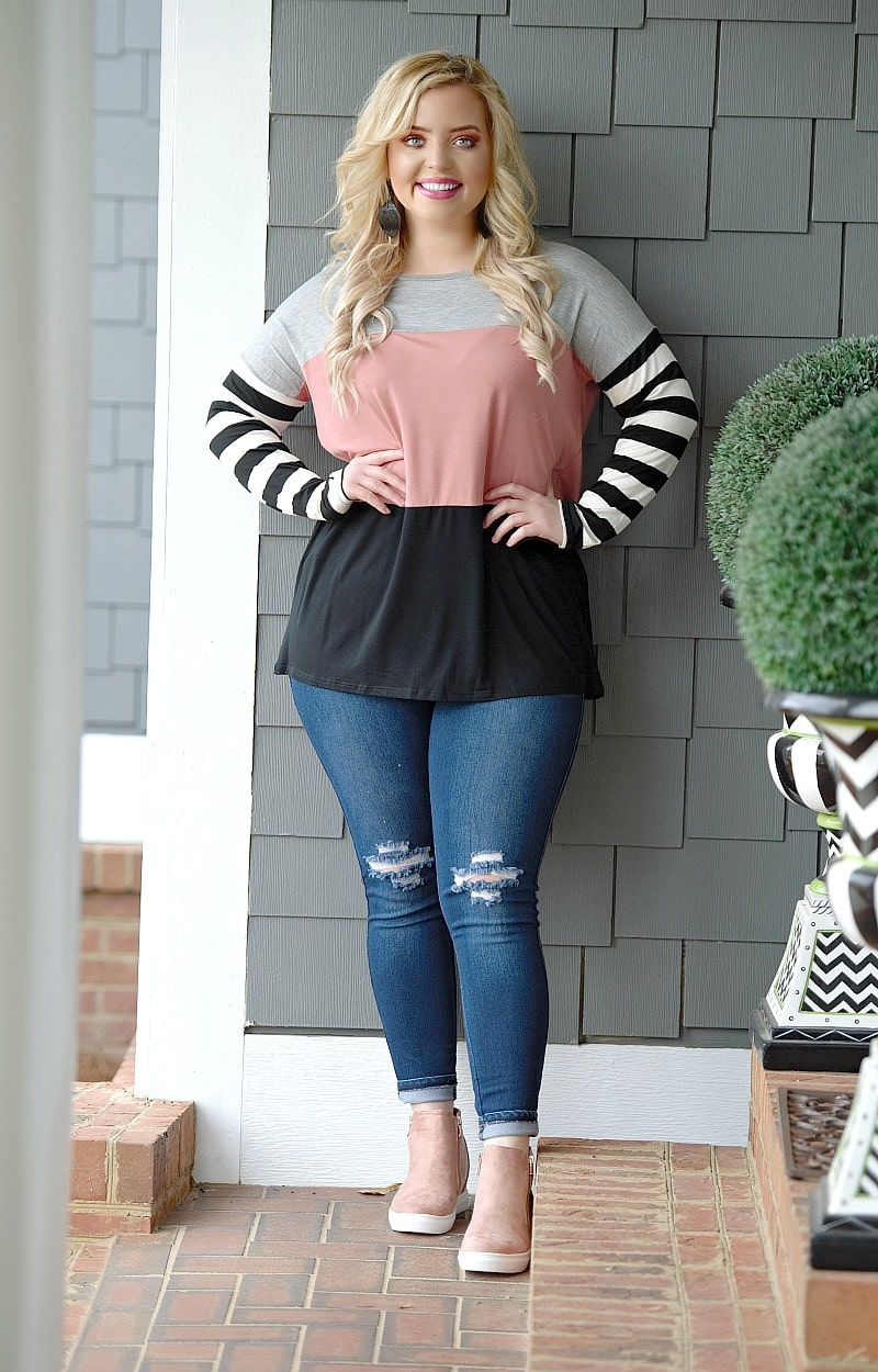 New Directions Colorblock Top