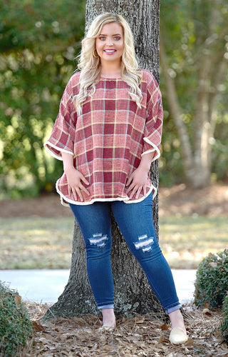 Just Your Luck Plaid Top - Wine