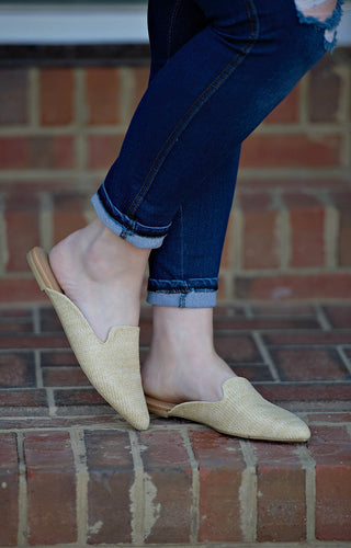 Jump Into Things Raffia Mules