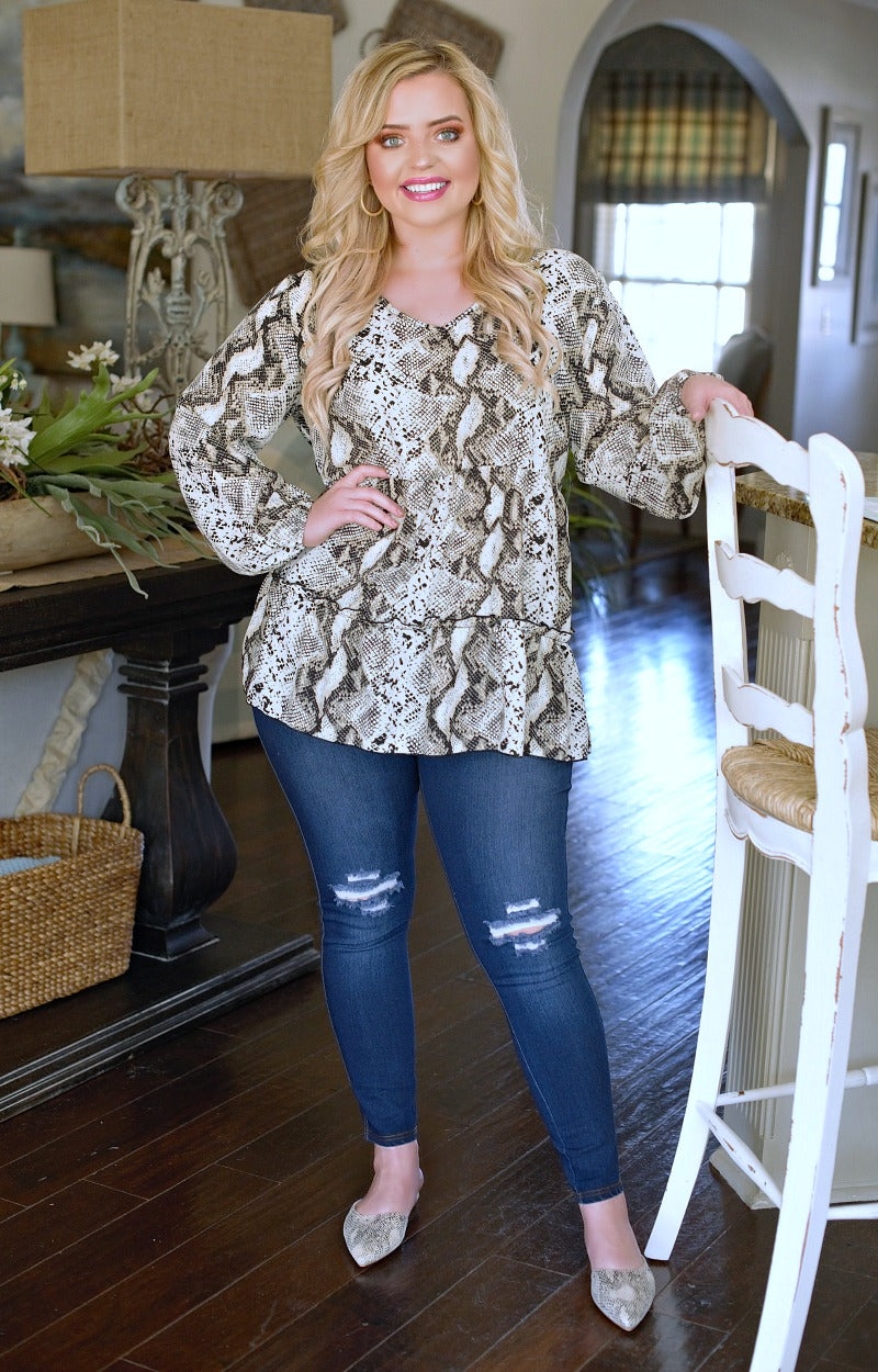 Fitting In Snake Print Top