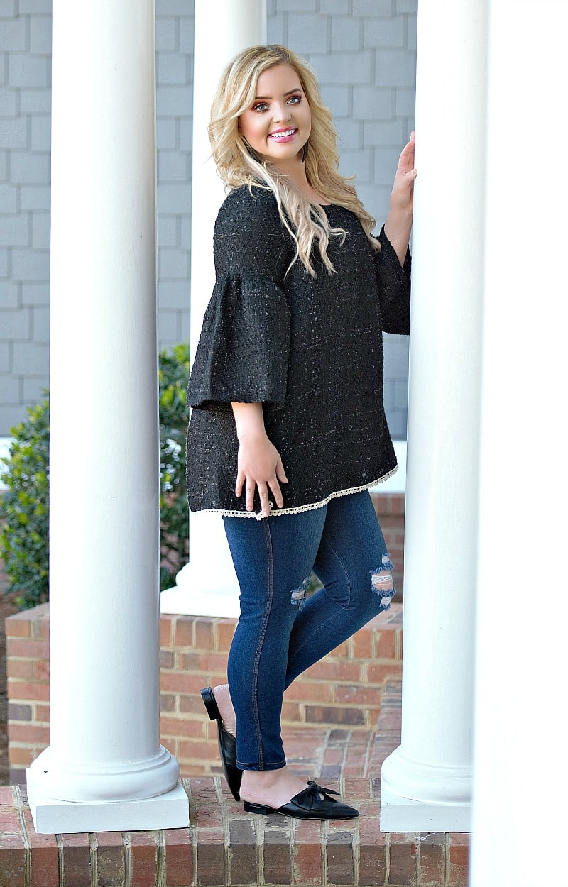Glimmer Of Light Top - Black