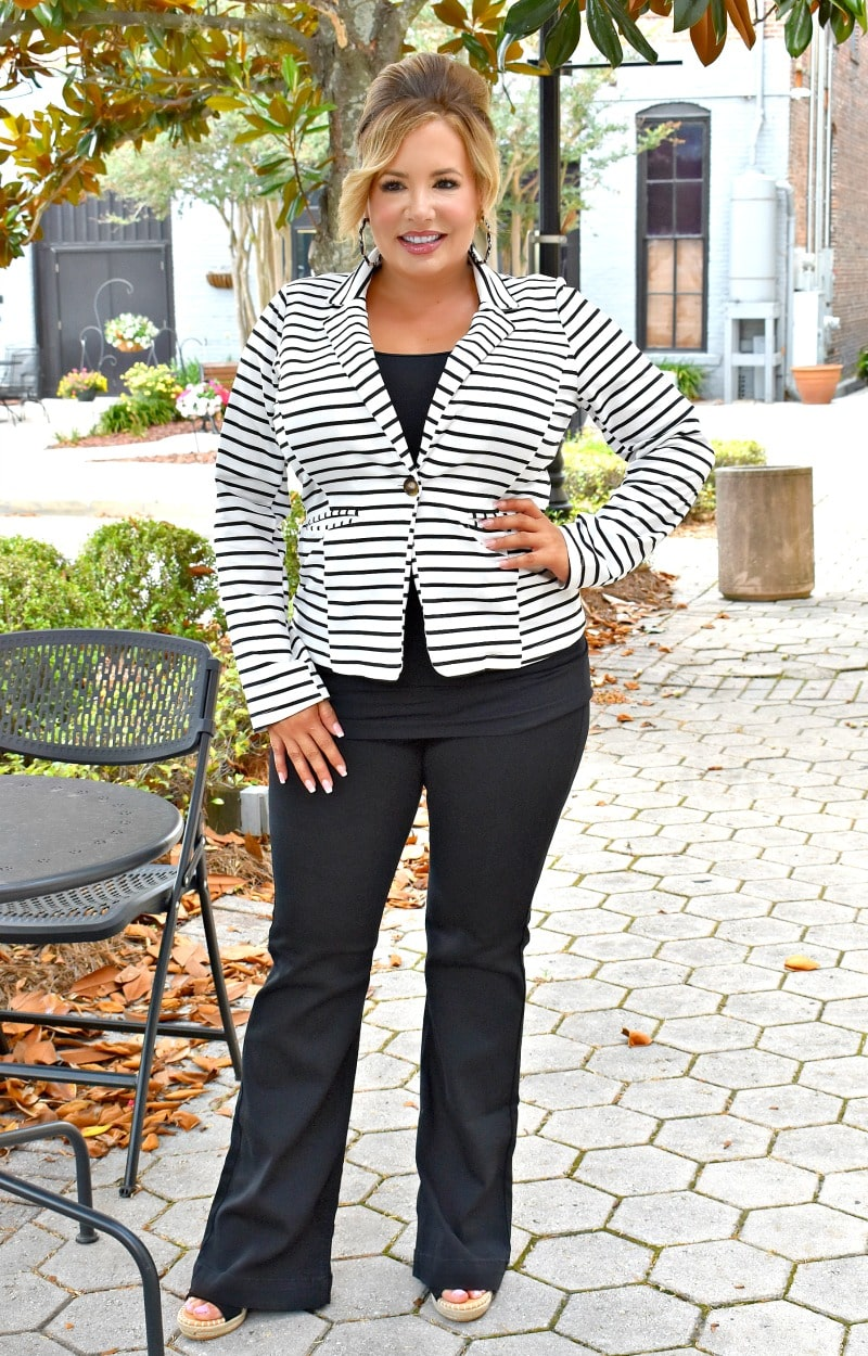 You Got It Girl Striped Blazer - Ivory/Black