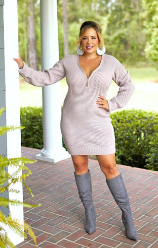 Always In Control Sweater Dress/Tunic - Mauve