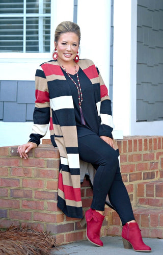At The Top Striped Cardigan - Taupe