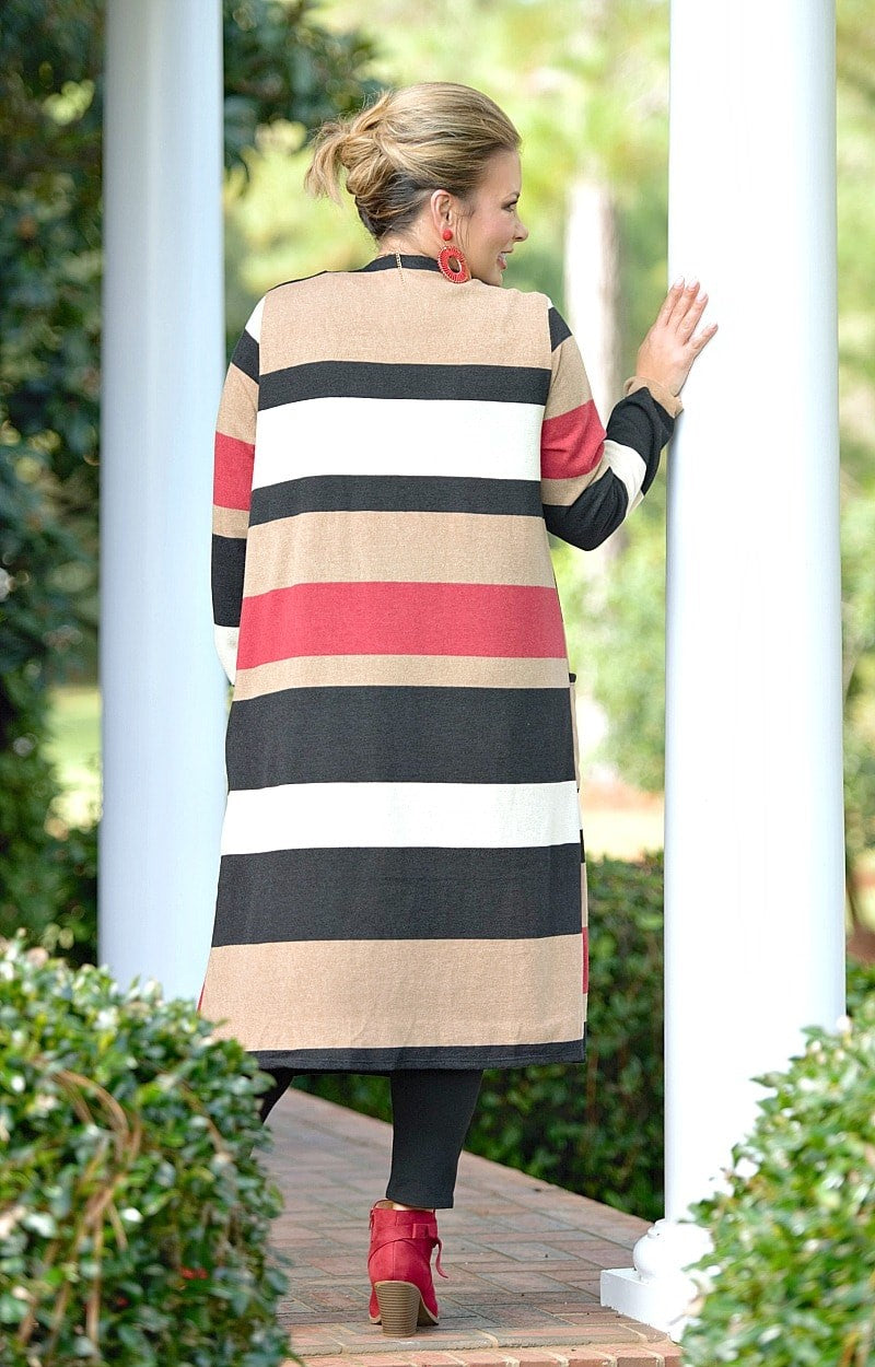Load image into Gallery viewer, At The Top Striped Cardigan - Taupe