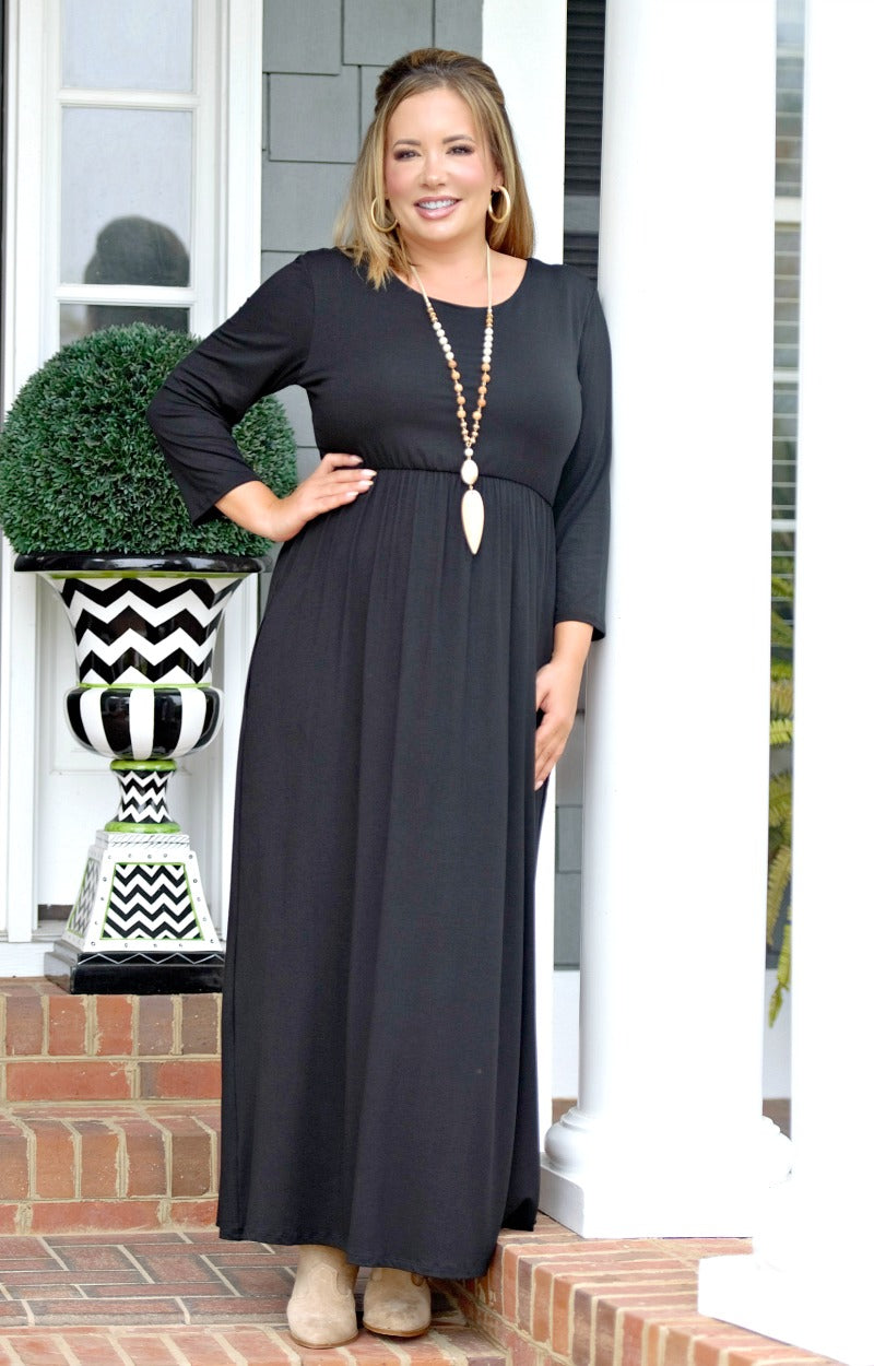 Load image into Gallery viewer, Don't Have Time Maxi Dress - Black