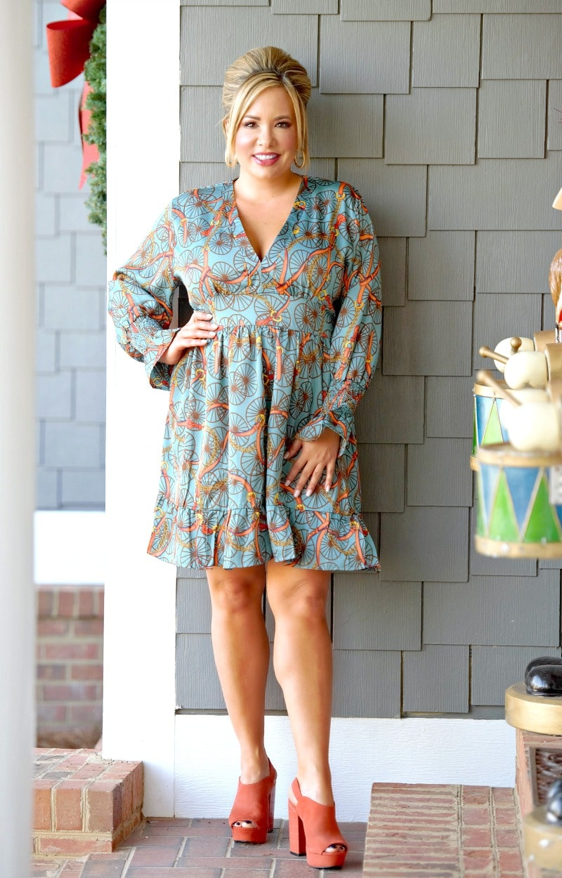 In No Rush Print Dress - Teal