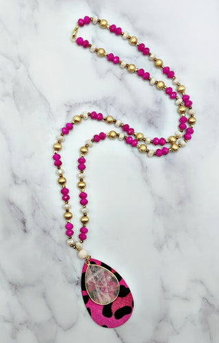 Carefree Days Necklace - Hot Pink