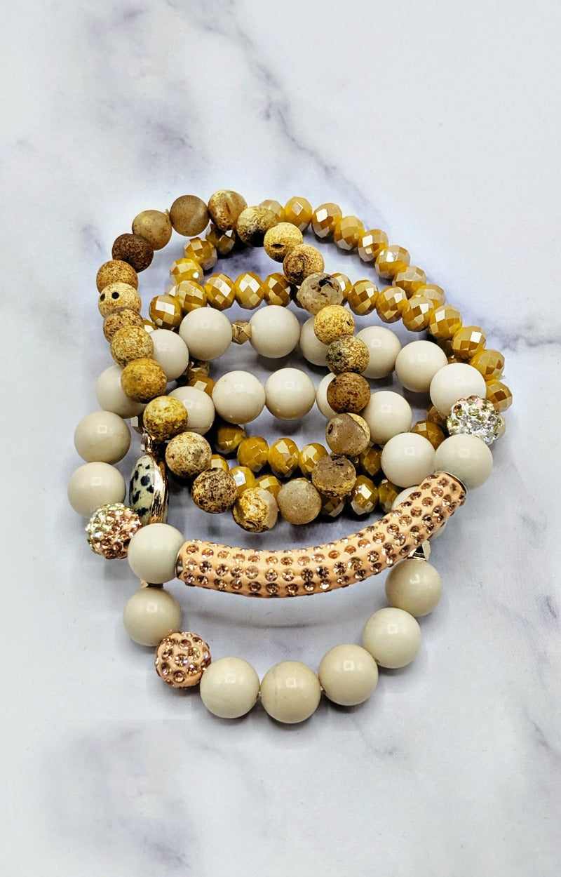 Load image into Gallery viewer, Yours Truly Bracelet Set - Beige/Mustard