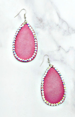 Put A Little Bling On It Earrings - Pink/Clear