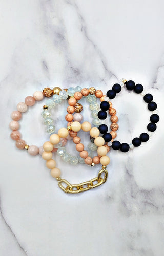 Anchors Away Bracelet Set - Navy/Pink
