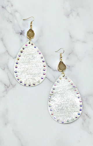 Mixing It Up Earrings - Metallic White