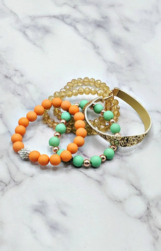 So Put Together Bracelet Set - Peach/Mint