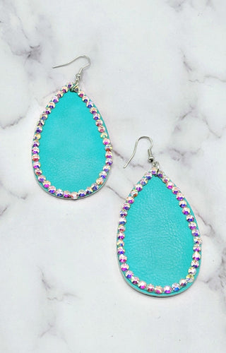 Put A Little Bling On It Earrings - Mint