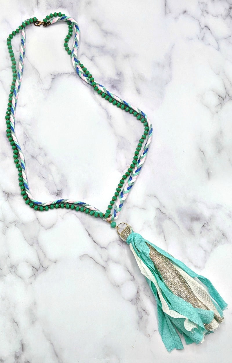 Don't You Know Necklace - Mint/White