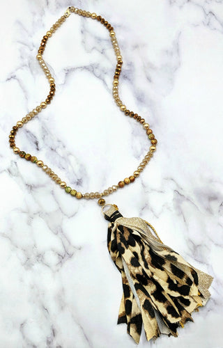 Need It Yesterday Necklace - Gold/Leopard