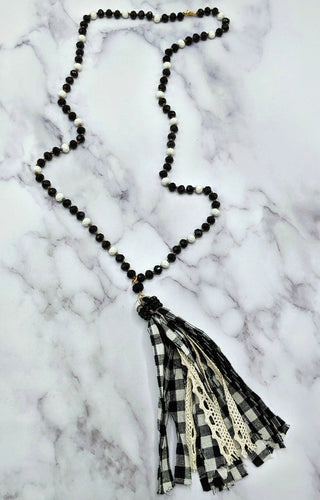 Swallow Your Pride Gingham Necklace - Black
