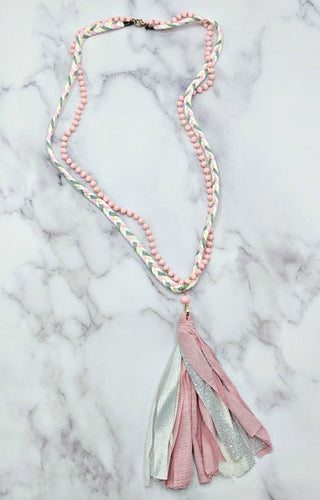 Don't You Know Necklace - Pink/White