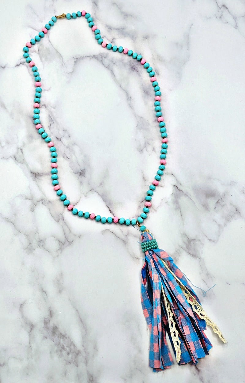Load image into Gallery viewer, Swallow your Pride Gingham Necklace - Pink/Blue
