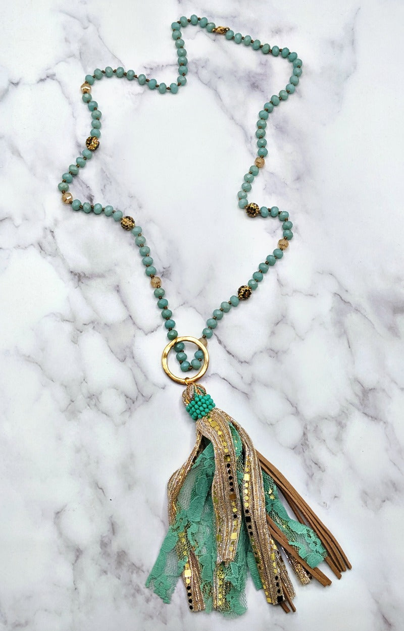 Load image into Gallery viewer, Shining Through Necklace - Mint/Gold