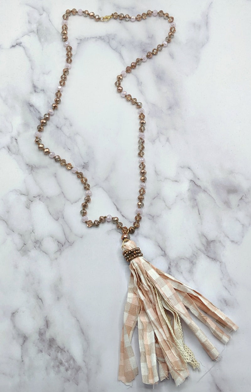 Swallow Your Pride Necklace - Pink/Taupe