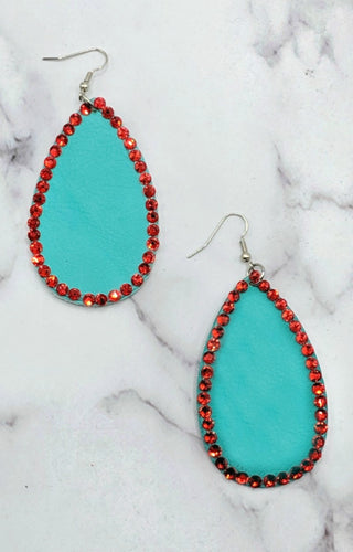 Put A Little Bling On It Earrings - Mint/Red